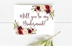 Printable Bridesmaid Card Marsala Will You Be My Bridesmaid | Etsy | Printable Bridesmaid Proposal Cards