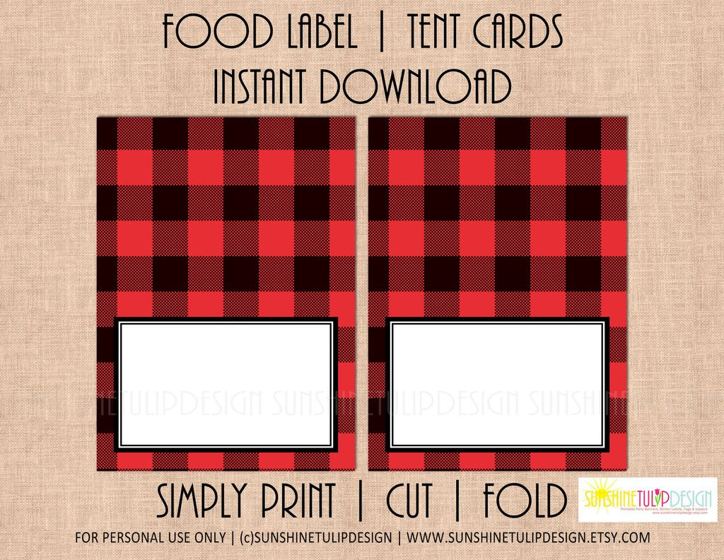 Printable Buffalo Plaid Food Label Tent Cards, Christmas, Holiday | Free Printable Christmas Tent Cards