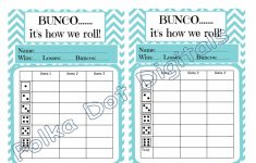 Printable Bunco Score Cards Free