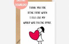 Printable Card Thank You Card Thank You Friend Card Thanks | Etsy | Printable Friendship Cards Friends