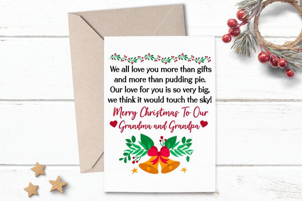 Printable Christmas Card Greeting For Grandma Grandpa | Printable Christmas Greeting Cards