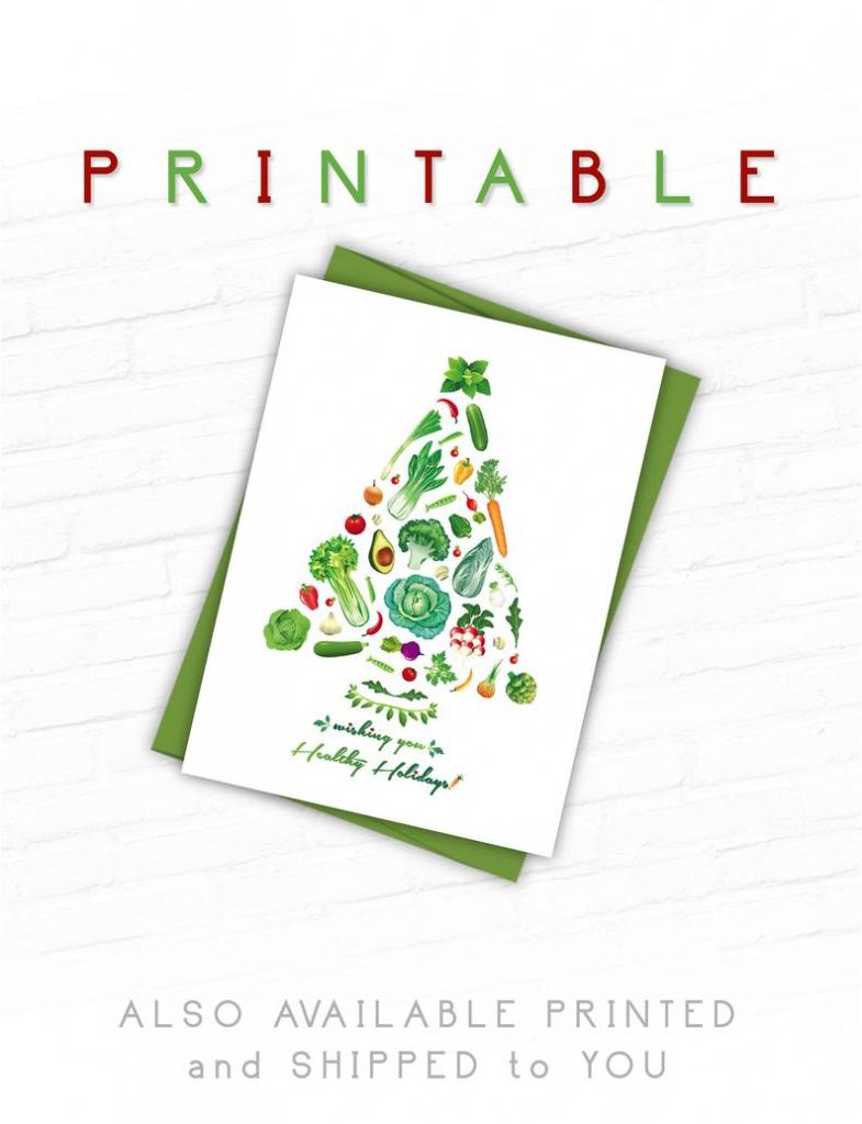 Printable Christmas Cards Vegan Christmas Card Healthy | Etsy | Printable Christmas Greeting Cards