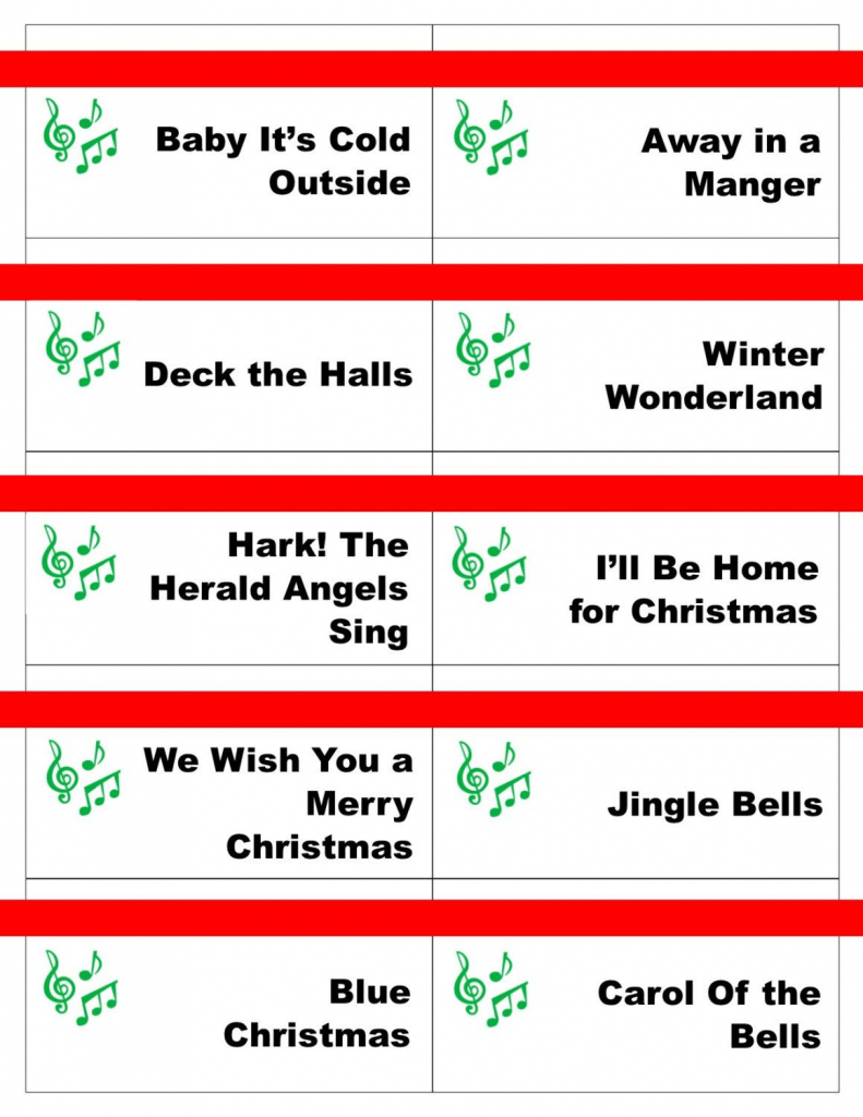 Printable Christmas Carol Game Cards For Pictionary Or | Free Printable Christmas Pictionary Cards