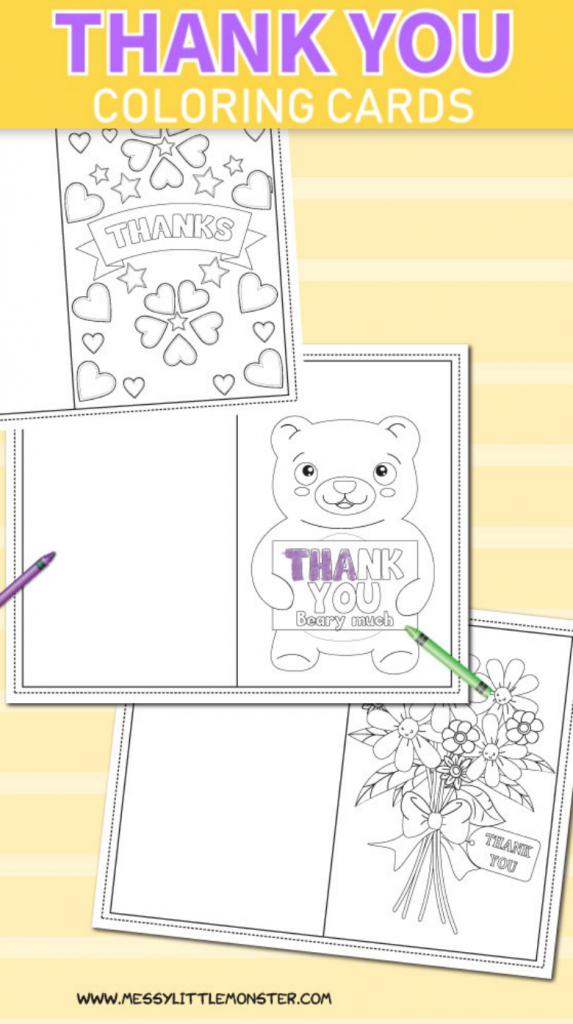 Printable Colouring Thank You Cards For Kids - Messy Little Monster | Printable Thank You Cards For Kids To Color