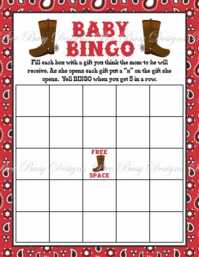 Printable Cowboy Boot Baby Bingo Game Instant Download | Bee Busy | Cowboy Bingo Printable Cards