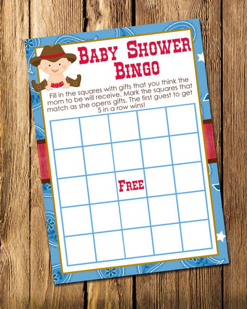 Printable Cowboy Boy Baby Shower Bingo Game Instant Download | Etsy | Cowboy Bingo Printable Cards