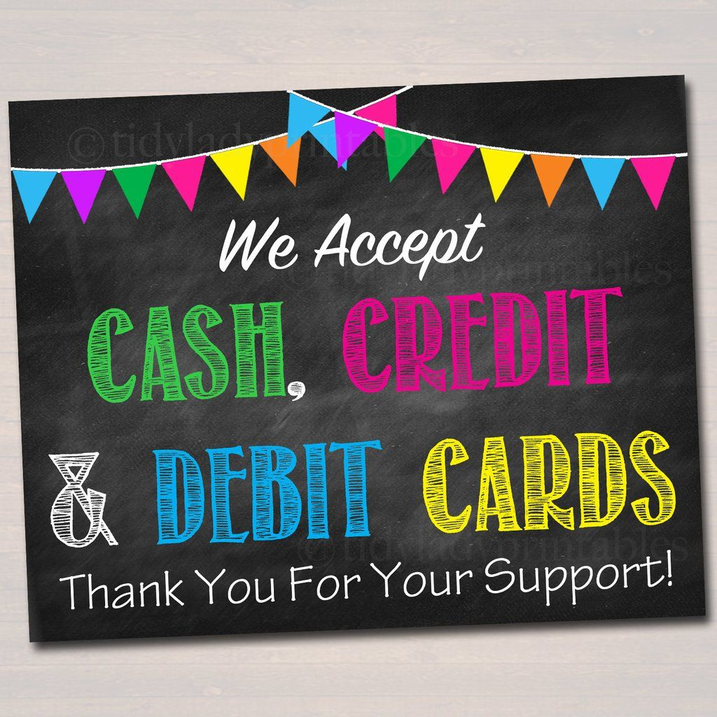 Printable Credit Card Sign, Fundraising Booth, Bake Sale, Cookie | Printable Credit Cards Accepted Sign