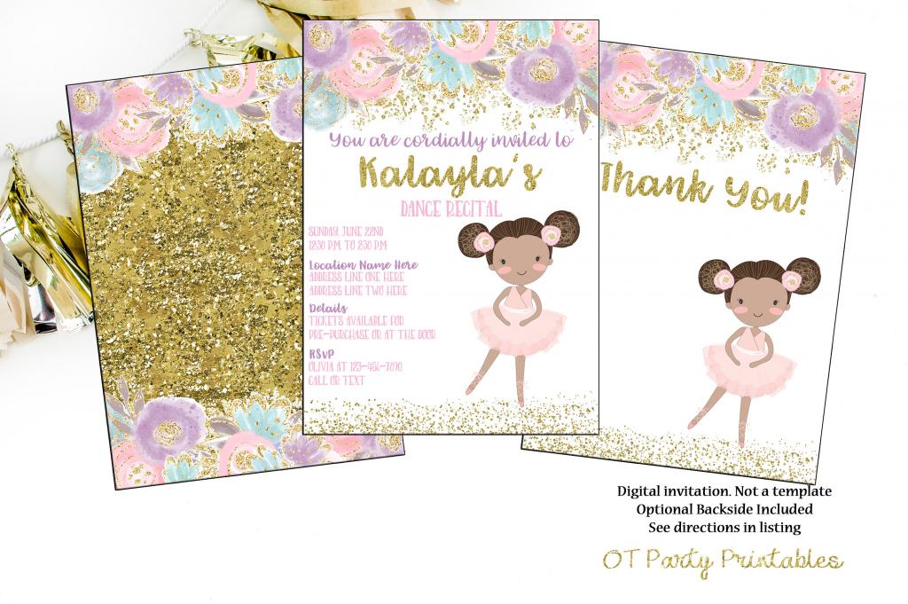 Printable Dance Recital Digital Invitation Ballerina Invite | Etsy | Free Printable Dance Recital Cards
