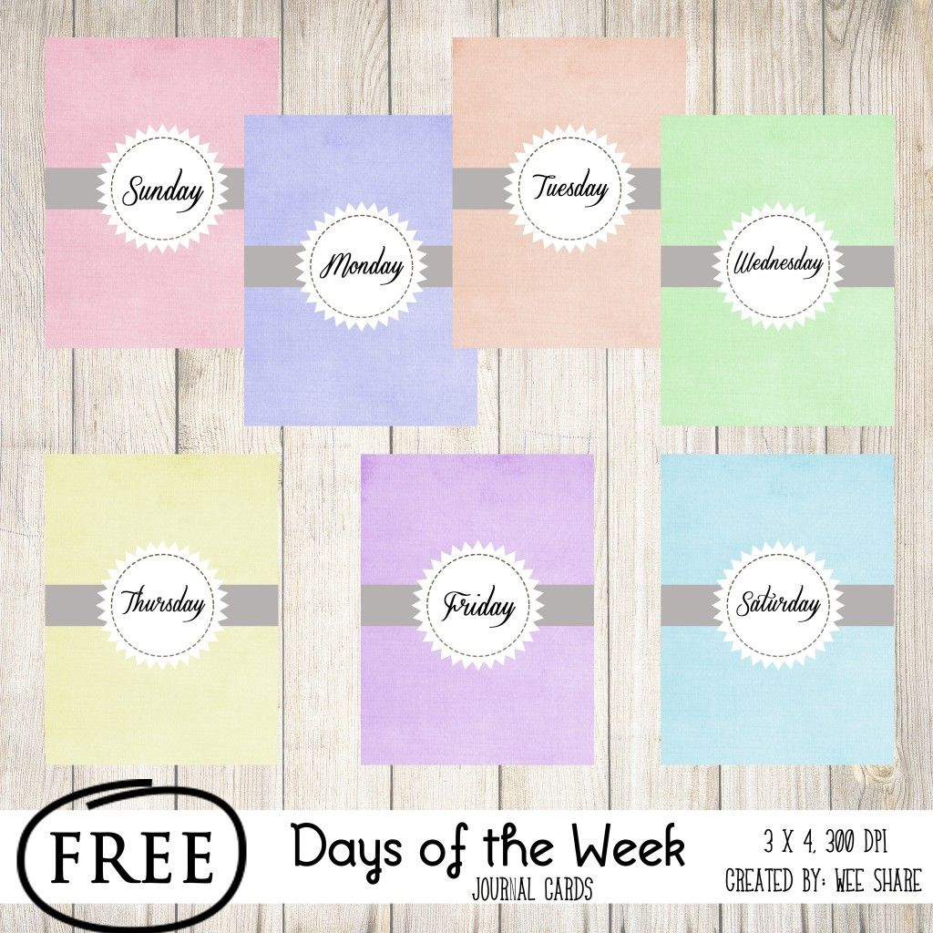 Printable -- Days Of The Week Journal Cards | Smash* And Pl | Free Printable Days Of The Week Cards