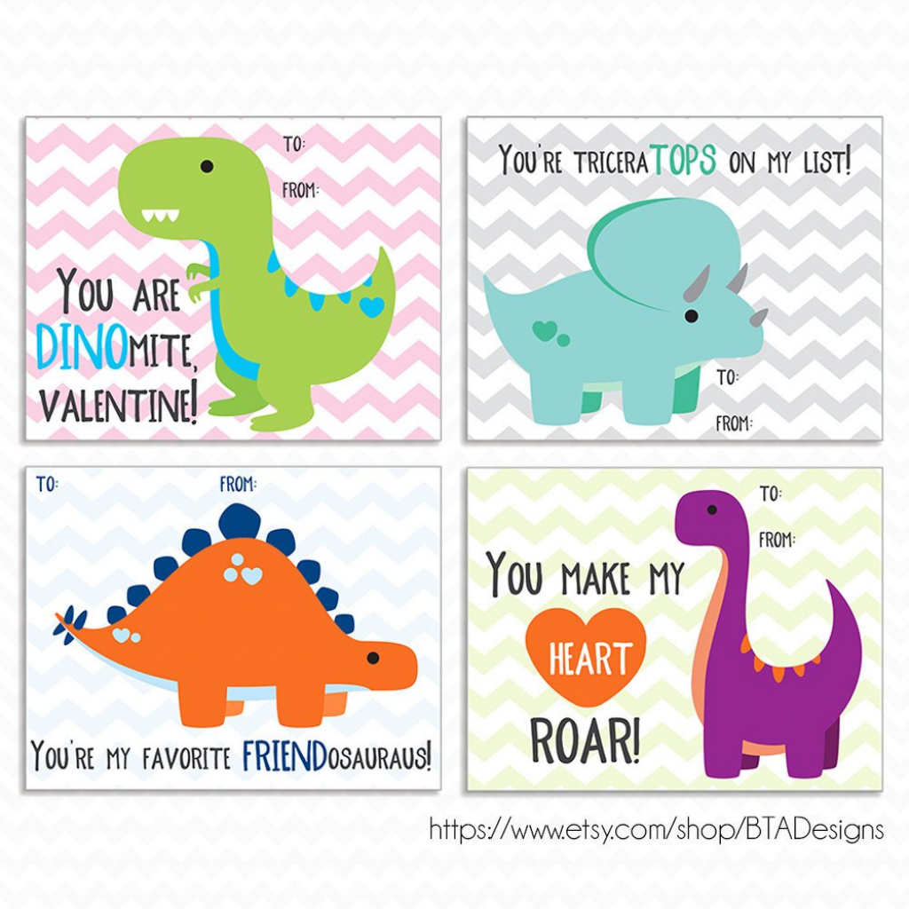 Printable Dinosaur Valentine Cards Instant Download | Etsy | Printable Dinosaur Valentines Day Cards
