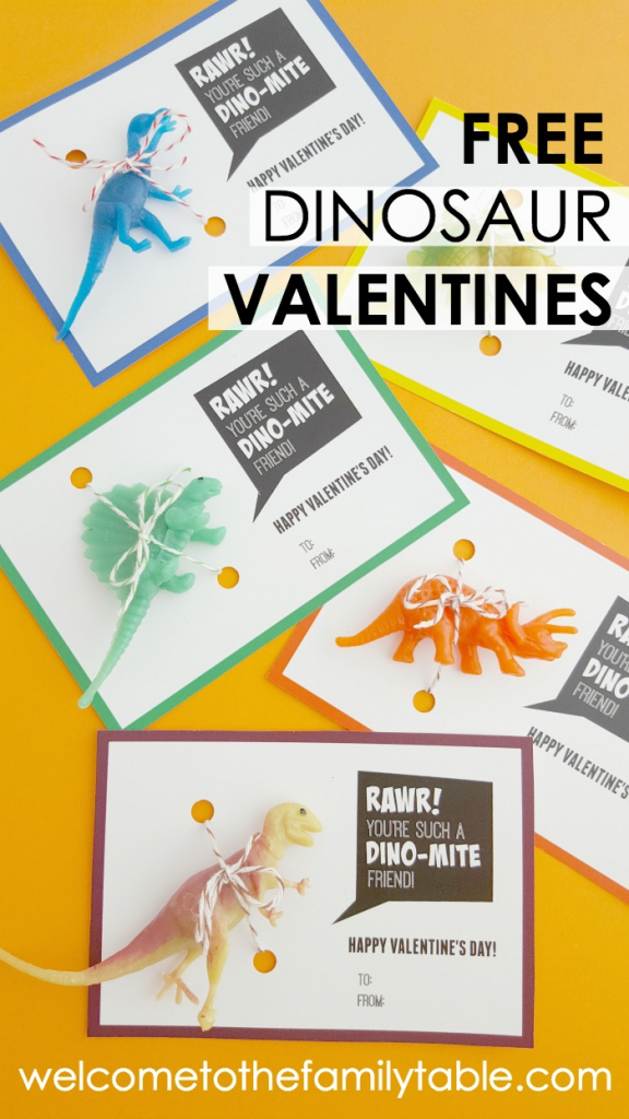 Printable Dinosaur Valentine Cards - Welcome To The Family Table™ | Printable Dinosaur Valentine Cards