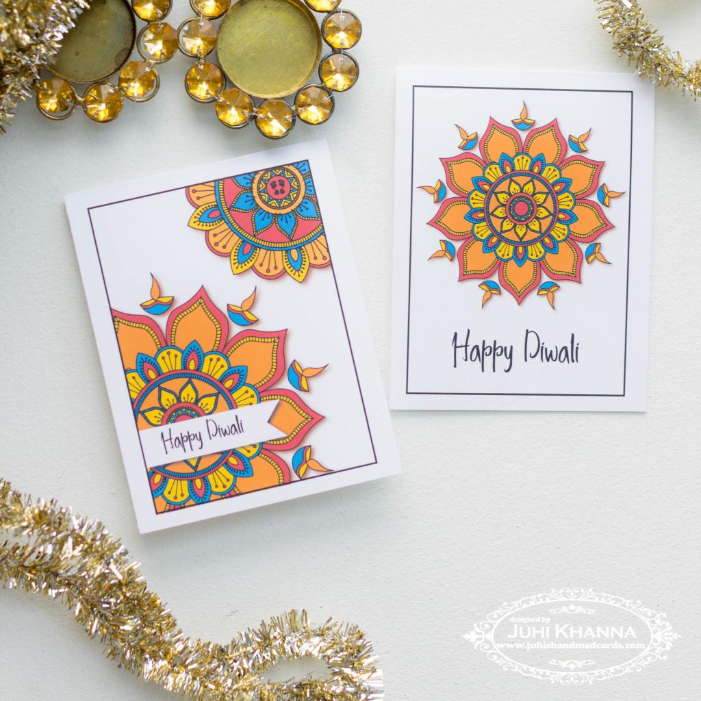 Printable Diwali Cards - Instant Download - 4 Patterns | The One | Printable Diwali Greeting Cards