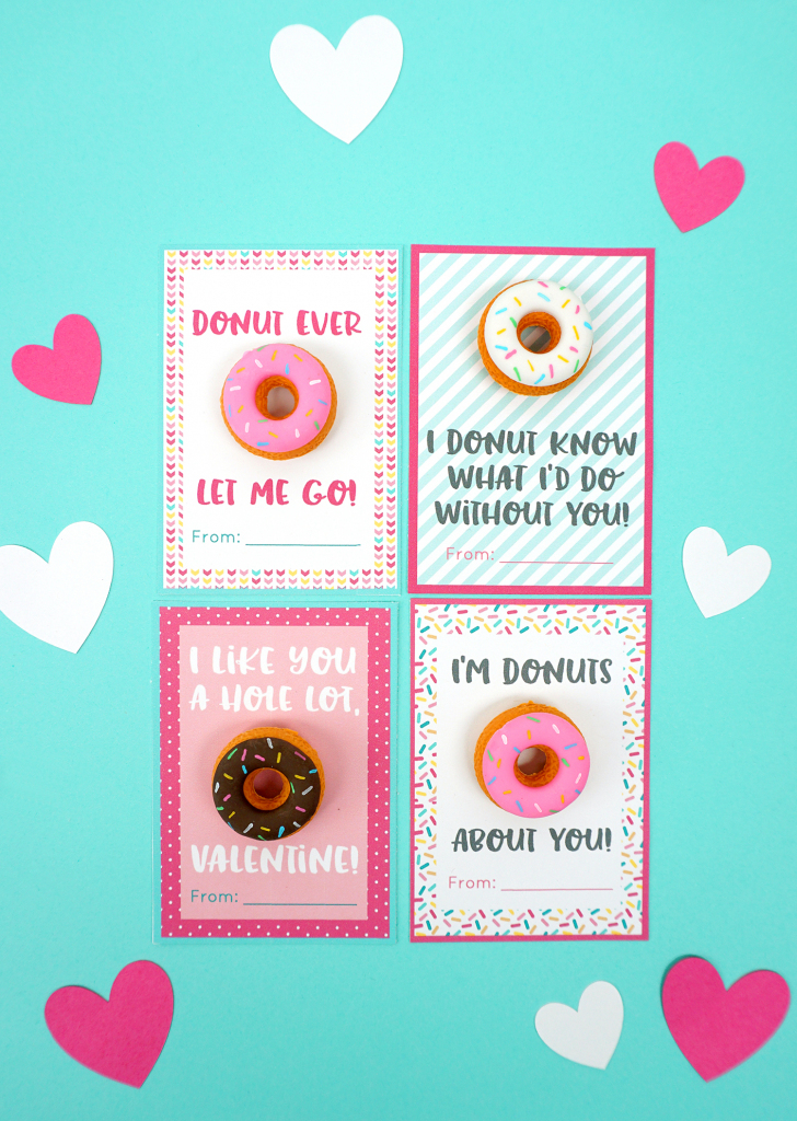 Printable Donut Valentine Cards - Happiness Is Homemade | Frozen Valentine Cards Printable