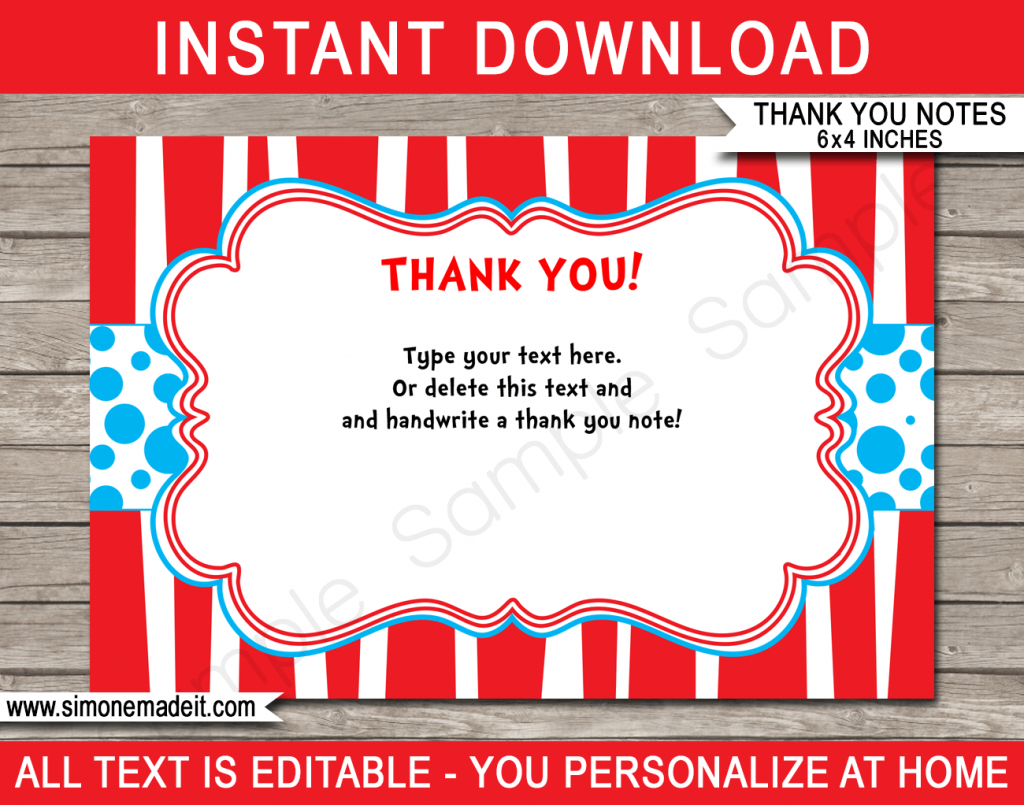 Printable Dr Seuss Party Thank You Cards | Dr Seuss Birthday Party | Dr Seuss Birthday Card Printable