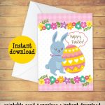 Printable Easter Card With A Bunny And An Easter Egg. Cute | Etsy | Printable Greek Easter Cards