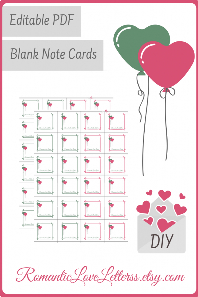 Printable Editable Blank Love Note Cards Custom Labels Digital | Cute Note Cards Printable