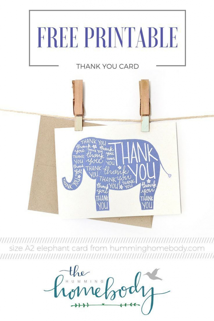 Printable Elephant Thank You Card | Printables | The Best Downloads | Free Printable Volunteer Thank You Cards