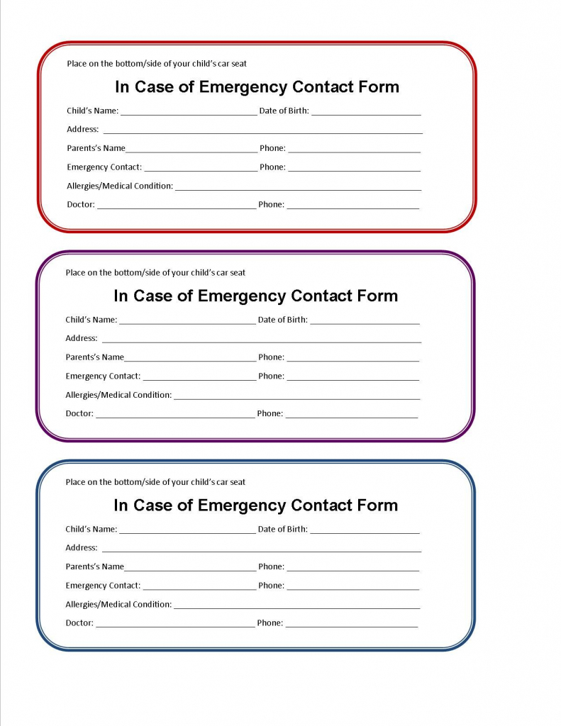 Printable Emergency Contact Form For Car Seat | Super Mom I Am | Printable Emergency Card Template
