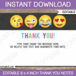 Printable Emoji Party Thank You Cards   Emoji Birthday Party Theme   Printable Emoji Thank You Cards