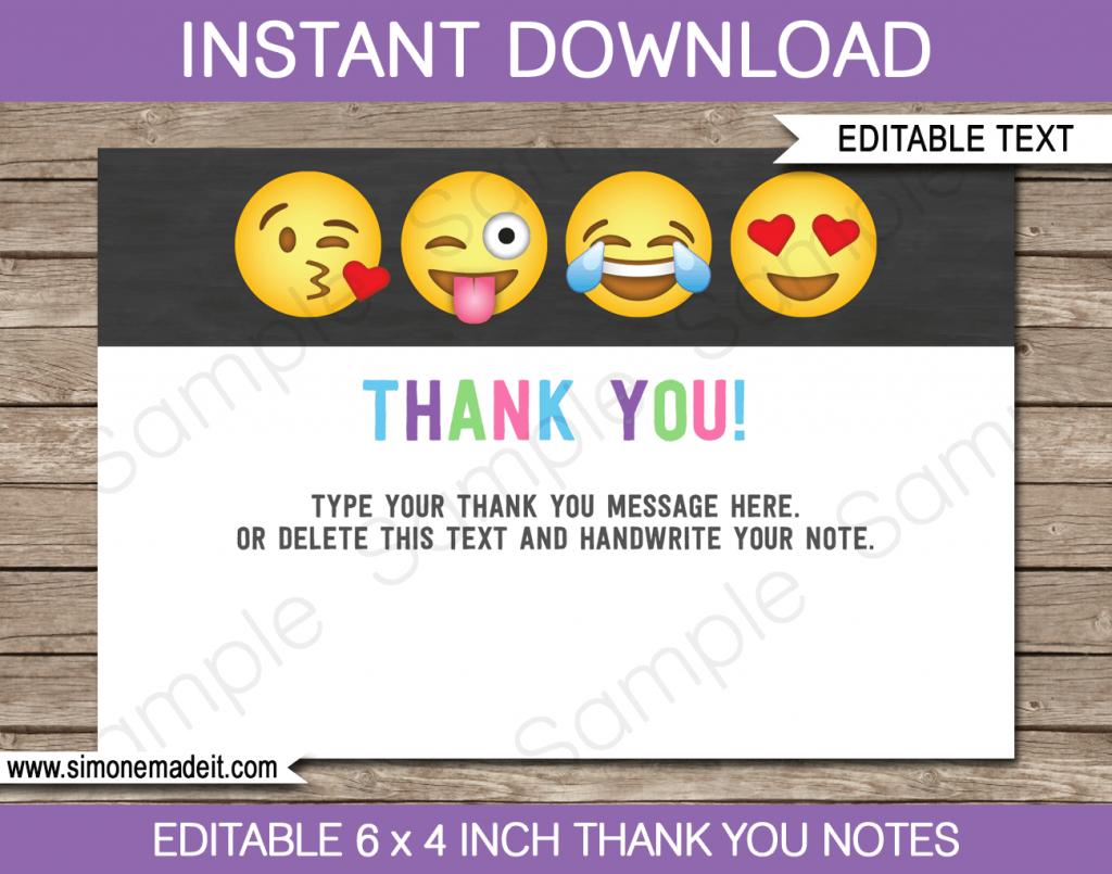 Printable Emoji Party Thank You Cards | Emoji Birthday Party Theme | Printable Emoji Thank You Cards