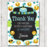 Printable Emoji Thank You Cards Emoji Chalkboard Thank You Card   Printable Emoji Thank You Cards