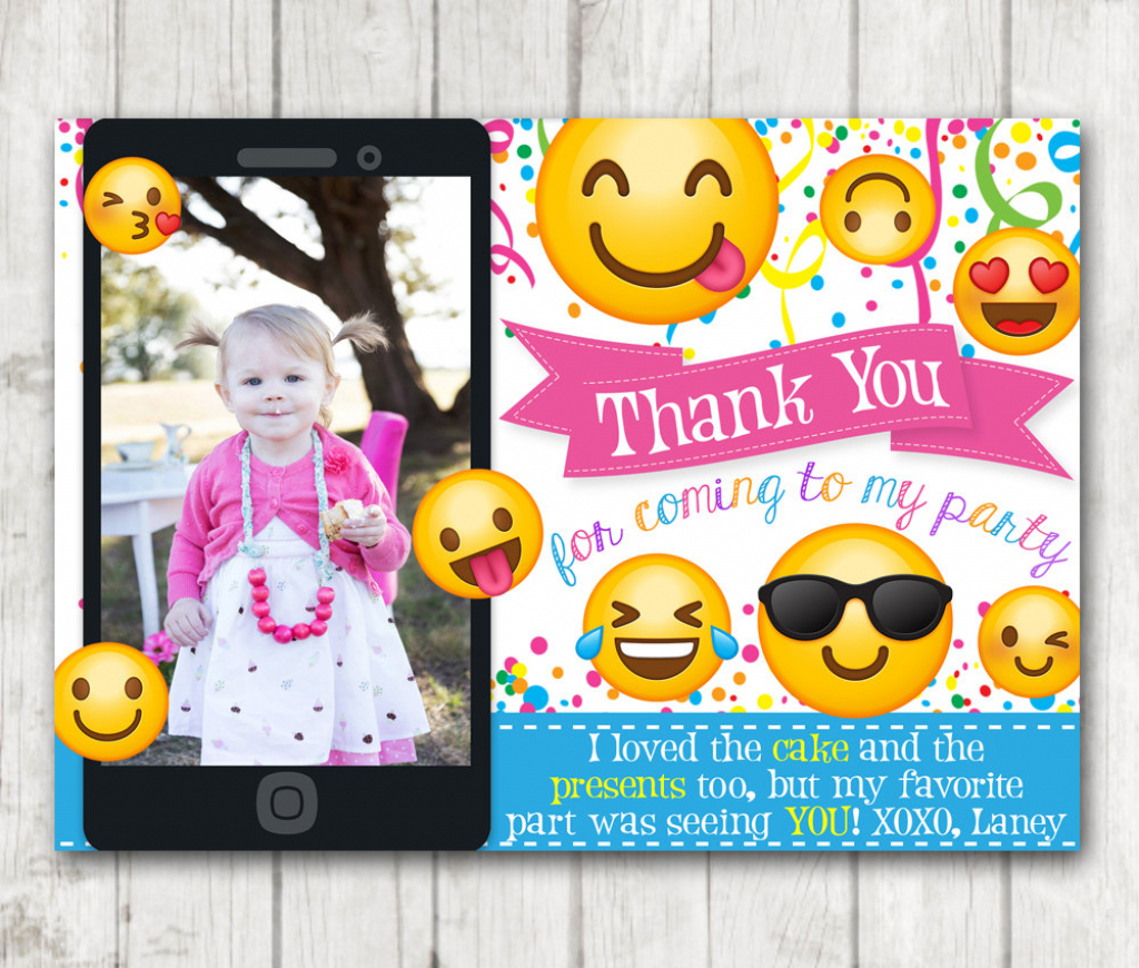 Printable Emoji Thank You Cards With Photo Emoji Thank You Card | Printable Emoji Thank You Cards