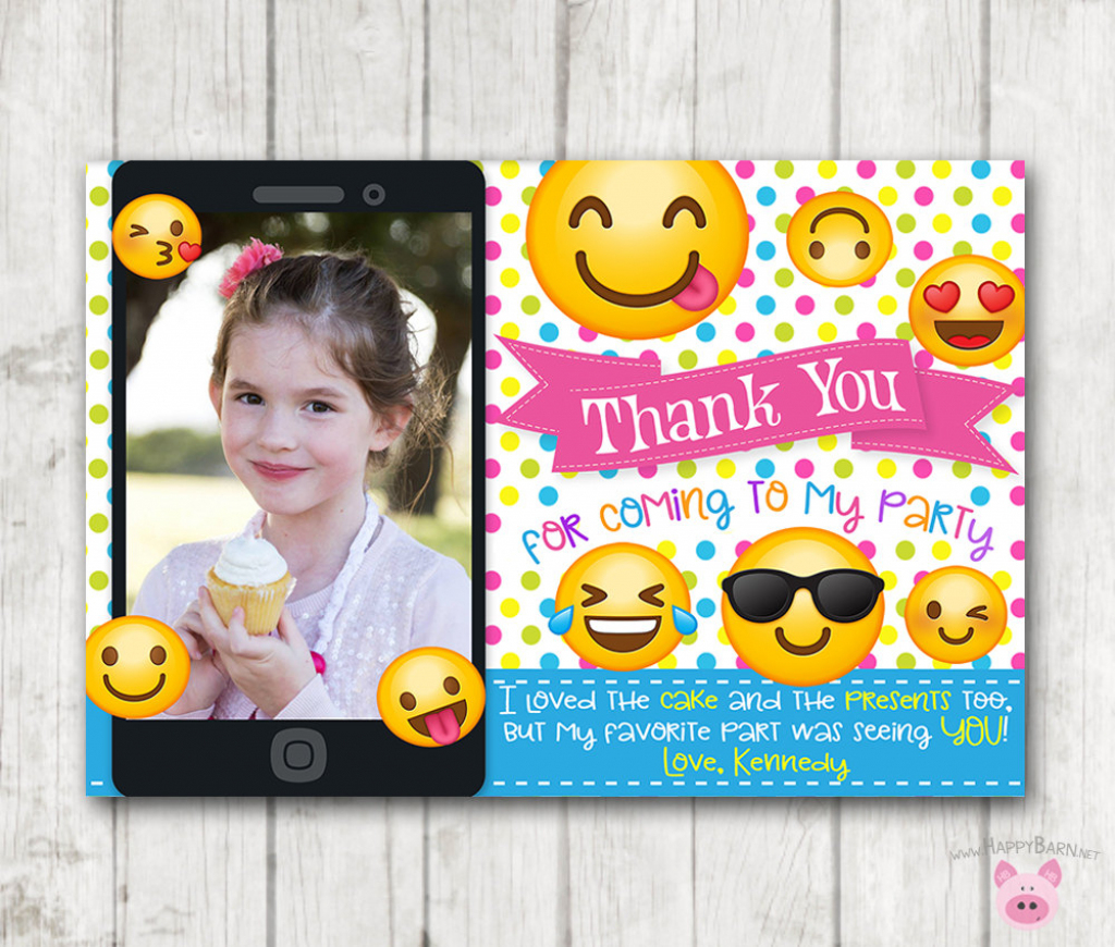 Printable Emoji Thank You Cards With Photo Vertical Emoji | Etsy | Printable Emoji Thank You Cards