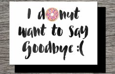 Printable Farewell Card /printable Goodbye Card – I Donut Want To | Free Printable Farewell Card For Coworker