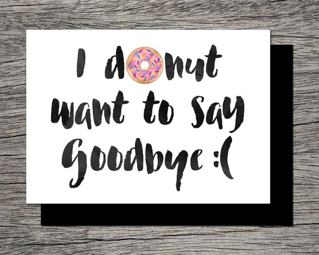 Printable Farewell Card /printable Goodbye Card - I Donut Want To | Free Printable Farewell Card For Coworker