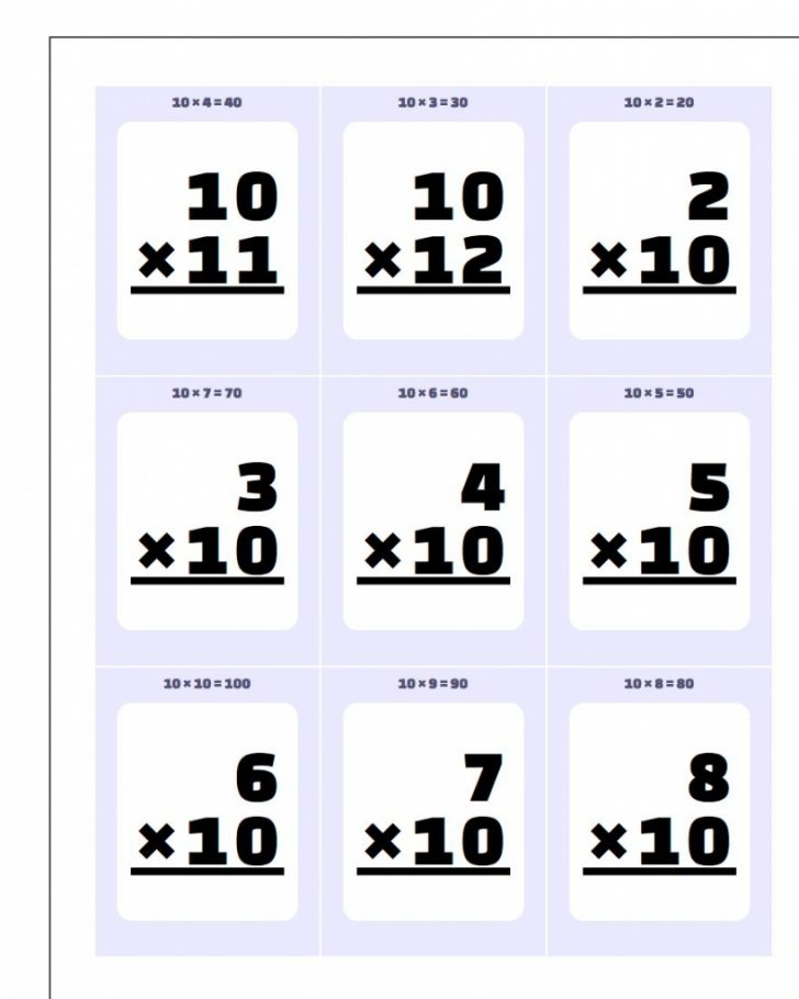 Multiplication Table Flash Cards Printable