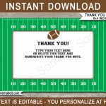Printable Football Party Thank You Cards | Football Birthday Party Theme | Football Thank You Cards Printable