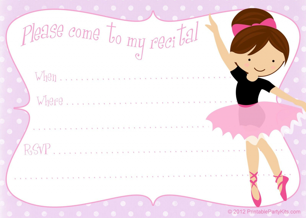 Printable Free Dance Recital Invitation Template From | Free Printable Dance Recital Cards