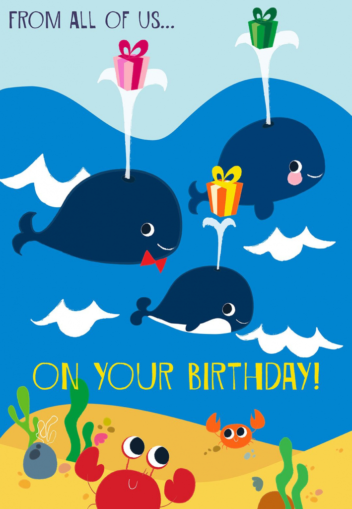 Printable 'from All Of Us On Your Birthday' Greeting Card. #birthday | Happy Birthday From All Of Us Printable Cards