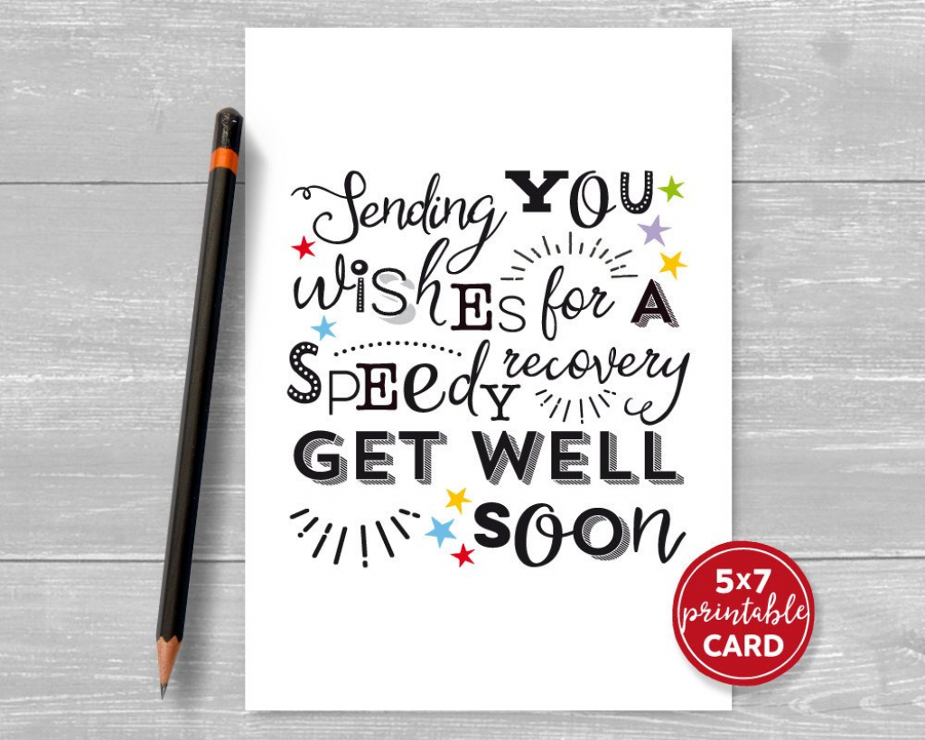 Printable Get Well Card Sending You Wishes For A Speedy | Etsy | Speedy Recovery Cards Printable