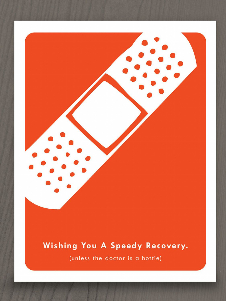 "Printable Get Well Soon Notecard - Funny. $4.00 ""wishing You A 
