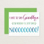 Printable Goodbye Card / Funny Goodbye Card / Printable | Etsy | Free Printable Farewell Card For Coworker