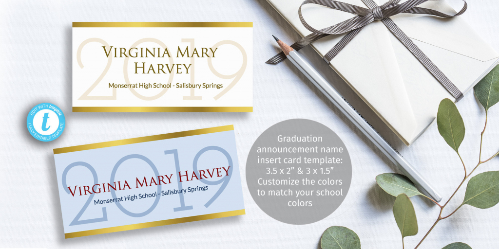 Printable Graduation Name Card Insert Easy To Customize | Etsy | Printable Name Cards For Graduation Announcements
