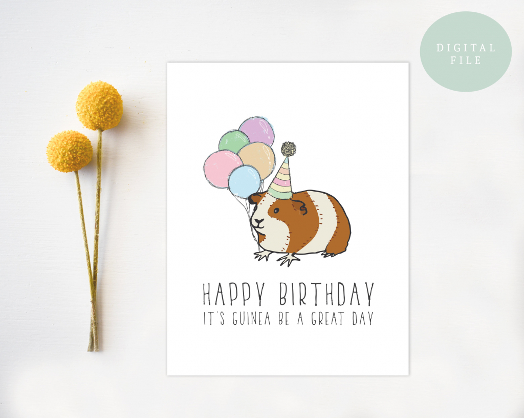 Printable Guinea Pig Birthday Card Guinea Pig Pun Funny Punny | Etsy | Pig Birthday Cards Printable