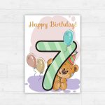 Printable Happy Birthday Card / Instant Download / Illustrated | Etsy | 7Th Birthday Card Printable