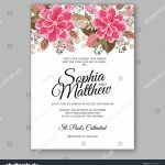 Printable Invitation Card Stock Stock Vector Soft Red Dahlia Wedding | Printable Invitation Card Stock
