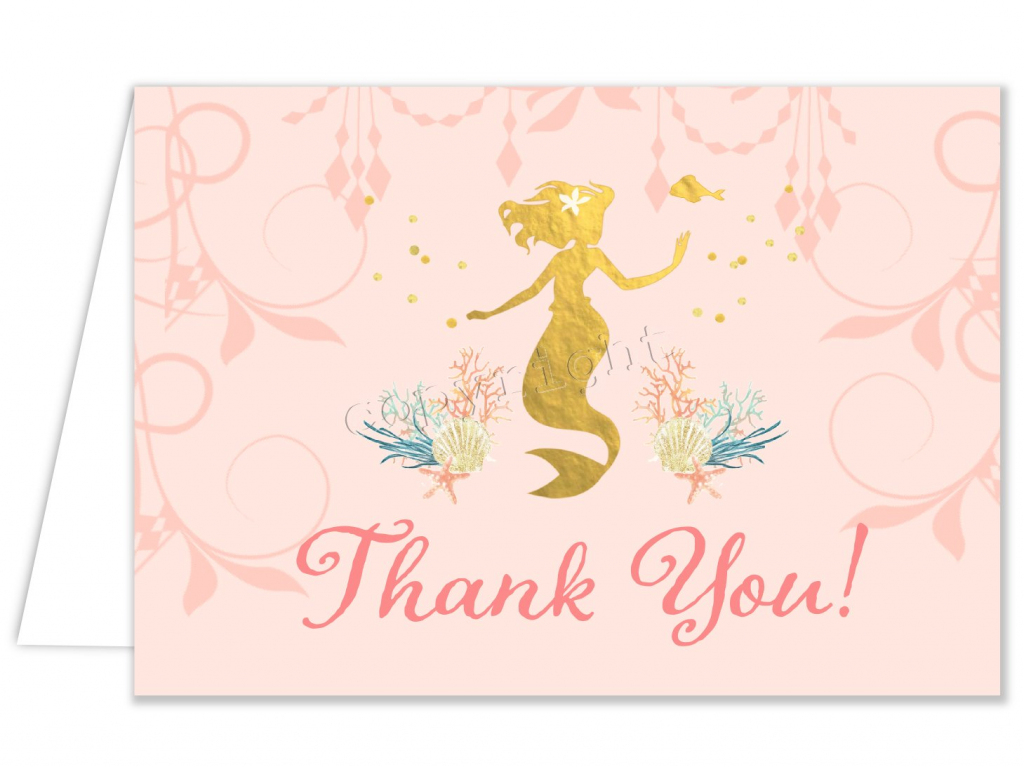 Printable Mermaid Thank You Card For Girl Birthday Party W/matching | Free Printable Mermaid Thank You Cards