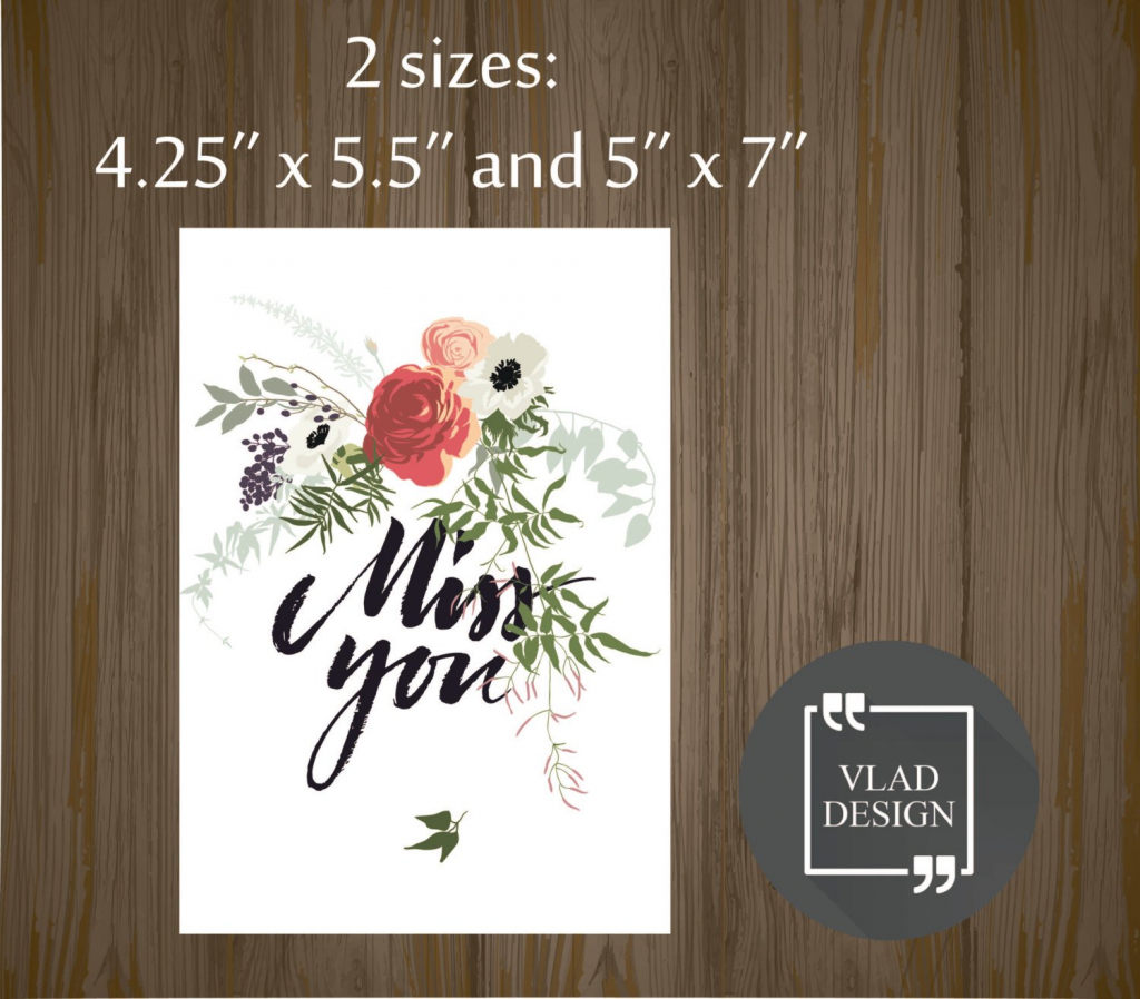 Printable Miss You Card Gift Card Printable Cards Instant | Etsy | Printable Miss You Cards