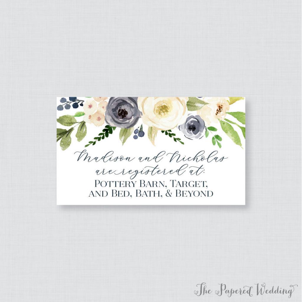 Printable Or Printed Wedding Registry Cards Navy And Cream | Etsy | Free Printable Registry Cards