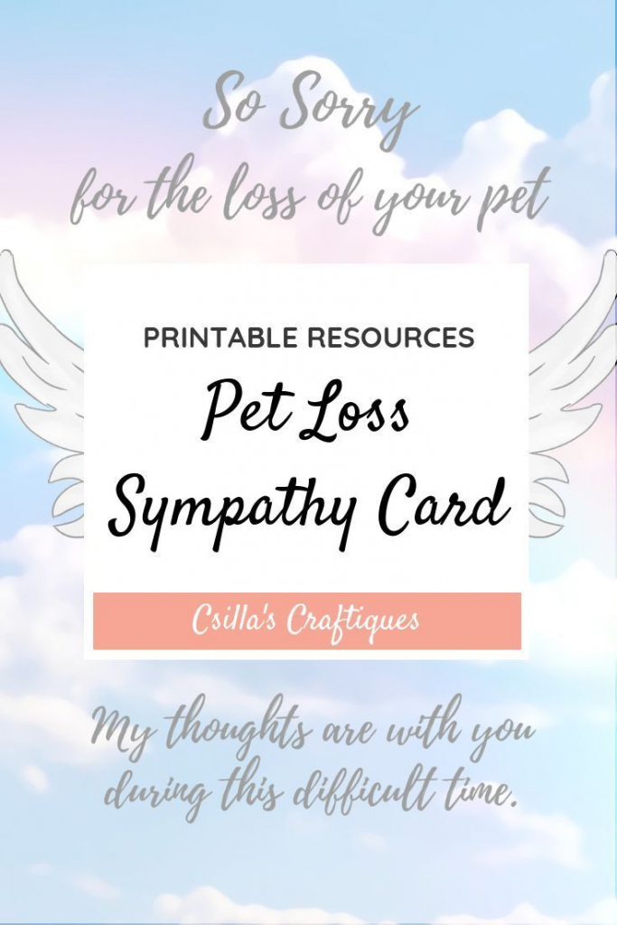 Printable Pet Loss Sympathy Card | Animals & Nature Lovers | Pets | Printable Sympathy Card For Loss Of Dog