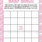 Printable Pink Damask Baby Shower Bingo Game Instant Download | Bee | Free Printable Baby Shower Bingo Cards Pdf