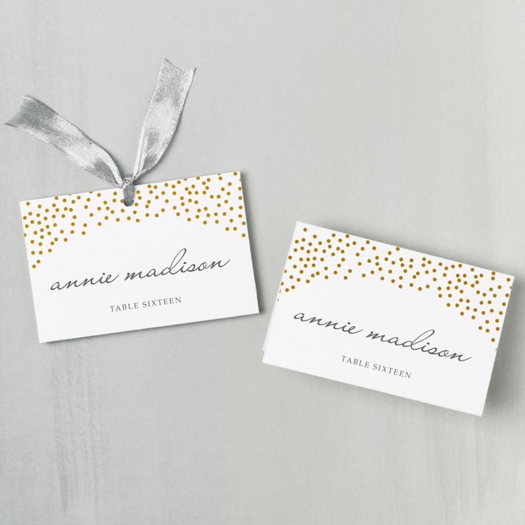 Printable Place Card Template Instant Download Gold Dots | Etsy | Printable Place Cards Template