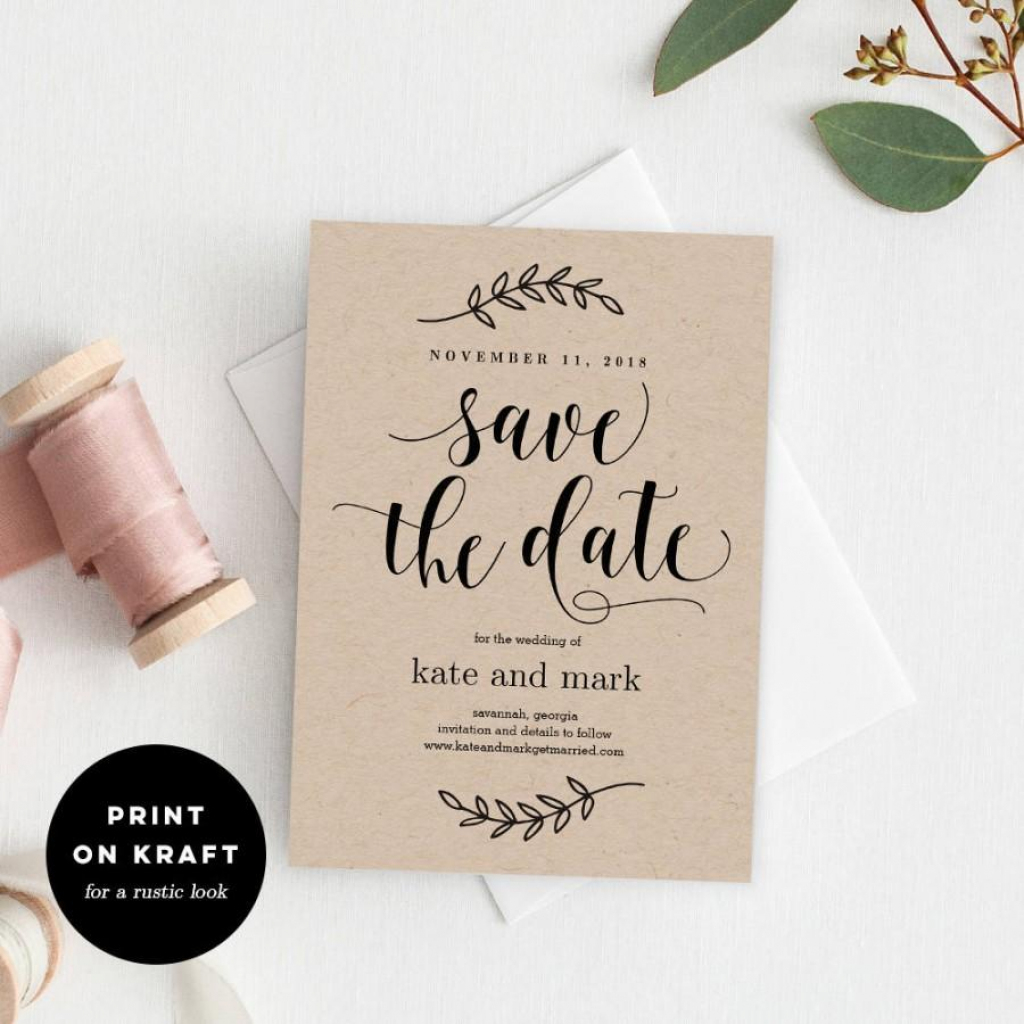 Printable Save The Date Template - Rustic Wedding Save The Date Card | Printable Save The Date Wedding Cards