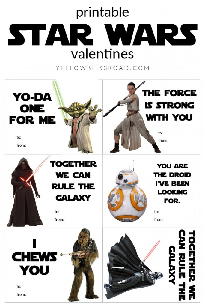 Printable Star Wars Valentine's Day Cards | Star Wars | Valentines | Star Wars Printable Cards Free
