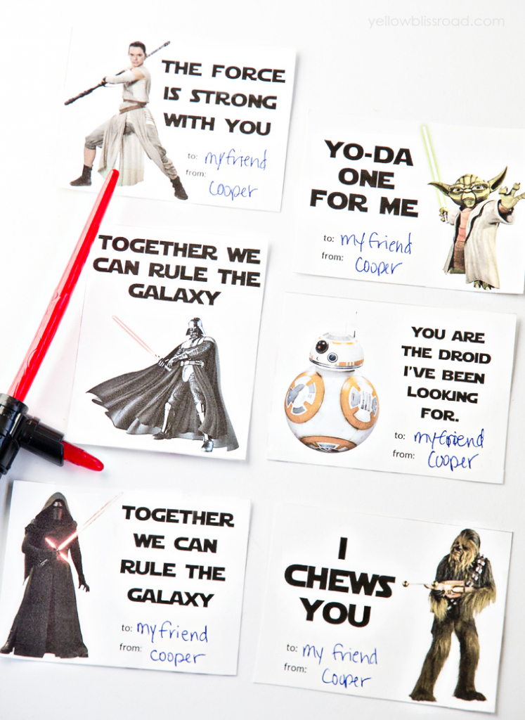 Printable Star Wars Valentine's Day Cards - Yellow Bliss Road | Printable Star Wars Cards