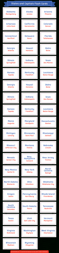Printable States And Capitals Flash Cards | State Capitals Flash Cards Printable
